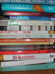 A pile of writing craft books